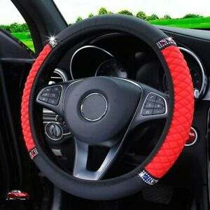 Universal Auto Car Steering Wheel Cover Leather Breathable Anti Slip Black Red