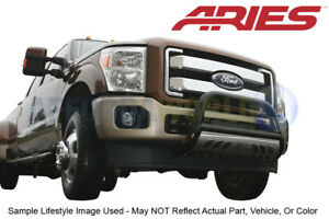 Aries 3in Black Bull Bar W Ss Skid Plate For 11 16 Ford F 250 F 350 F 450 Sd