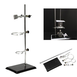 50cm Laboratory Stands 3 Lab Support Ring Condenser Flask Clip Clamp Stand Set
