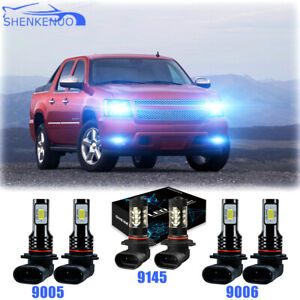 8000k Blue Led Headlights Fog Bulbs For Chevy Silverado 03 06 Avalanche 02 05