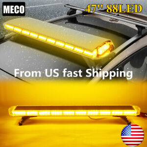 88led 47 Strobe Light Bar Amber Emergency Beacon Warn Tow Roof Truck Response