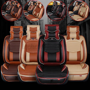 Us Deluxe Pu Leather Car 5 Seats Cover Cushion Front rear Full Surround Set Mat