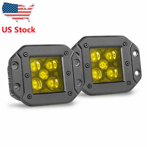 2x 5 Amber Led Work Light Bar Pods Flush Mount Combo Driving Fog Lamps Off Road