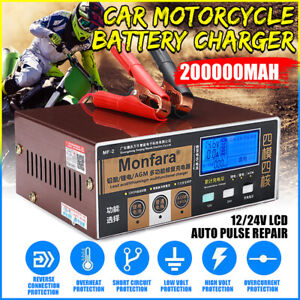 Smart Car Battery Charger Maintainer For 12 24v Motorcycle Vehicles Repairing