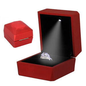 Deluxe Glossy Led Lighted Engagement Ring Box Velvet Jewelry Gift Case Proposal
