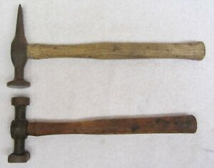 2 Vintage Auto Body Hammers Square Round Head Round Peen Head Solid Tools