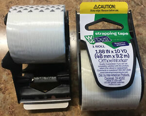 Office Works 1 88 In X 10 Yds Filament Strapping Tape W Dispenser 48mm X 9 2m