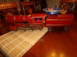 Rare Antique Early Railroad Train Engine And Tender W fly Wheel Original