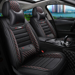 5 Seats Car Cover Luxury Pu Leather Front Rear Full Set Cushion Mat Universal
