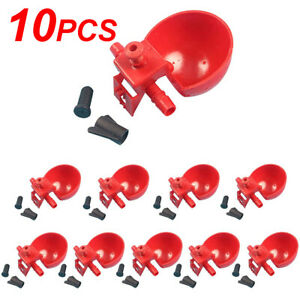 10x Poultry quail Water Drinking Cups Chicken Hen Plastic Automatic Drinker Us