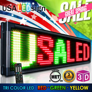 Led Sign 20mm Tri Color outdoor Programmable Scrolling Message Board 53 x15