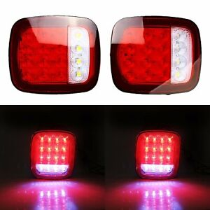 2x 16 Led Truck Trailer Stud Mount Stop Turn Tail Back Up Light Red white Sealed
