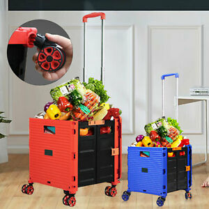 Folding Shopping Cart Rolling Trolley Portable F Grocery Laundry Travel 6cm New