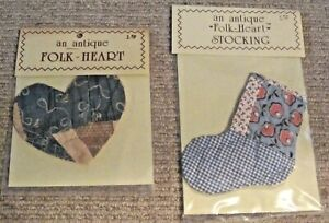 Primitive Folk Art Valentine Heart And Stocking Made From Antique Quilts Look
