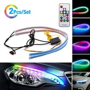 2 Rgb Led Drl Car Styling Daytime Running Light Strip For Headlight Accessories