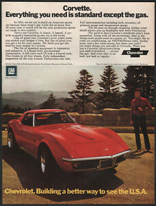 1972 Chevrolet Print Ad Red Corvette Convertible With Hardtop