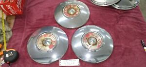 Vintage 1955 1956 55 56 Ford Fairlane Red Dog Dish Hub Caps Embossed Set Of 3
