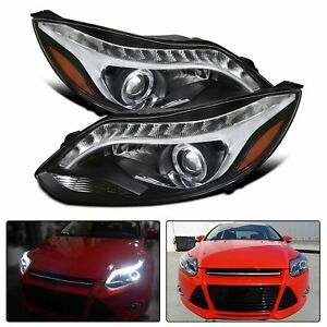 For Black 2012 2014 Ford Focus Halo Led Strip Projector Headlights Left right