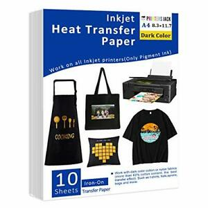 Iron on Heat Transfer Paper For Dark Fabric 10 Sheets 8 3x11 7 T shirt Trans