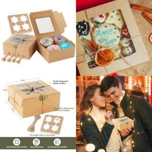 Cake Boxes 6x6x3 Inch 50 Pcs Brown Kraft Bakery Boxes With Window Cupcakes Box