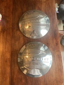 Vintage Chevy Chevrolet Dog Dish Moon Hubcaps Pair Truck Center Caps