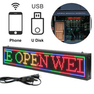 Led Message Sign Scroll Moving Display 40 x8 Desk Board Programmable 7 Color Us