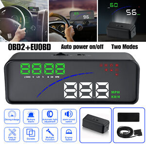 Car Digital Speedometer Obd2 Hud Head Up Display Overspeed Rpm Water Temp Alarm