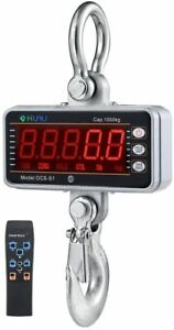 Digital Crane Scale 1000 Kg 2000 Lb Heavy Duty Hanging With Remote Silver