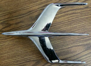 1955 1956 Mercury Montclair Chrome Jet Airplane Hood Ornament Vintage Part