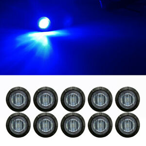 10pcs Smoked Round Side Marker Lights Trailer Truck 3 4 Blue Led Bullet Light