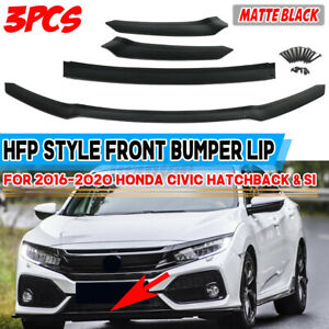 For Honda Civic Hatchback Si 16 2020 Front Bumper Lip Splitter Chin Spoiler