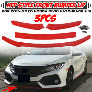 For Civic Hatchback Fk Si 2016 2020 Hfp Style Red Front Bumper Lip Spoiler