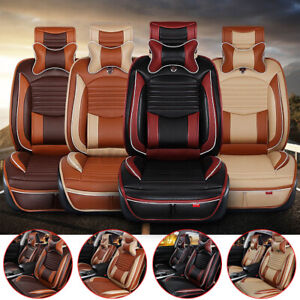 Us Universal 5 Seats Car Cover Luxury Pu Leather Full Surround Cushion