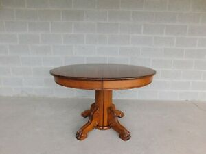 Antique Oak Claw Foot Pedestal Dining Table