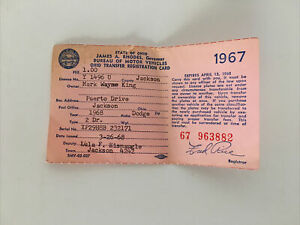 Vintage 1967 Dodge Charger Historical 2 Door Registration Card For 1968 Car