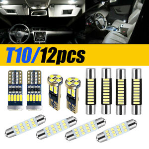 12pcs Car Interior Led Light For Map Dome License Plate Lamp Accessories Kit