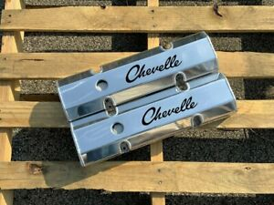 Sbc Small Block Chevy Fabricated Aluminum Valve Covers Etched Chevelle Script