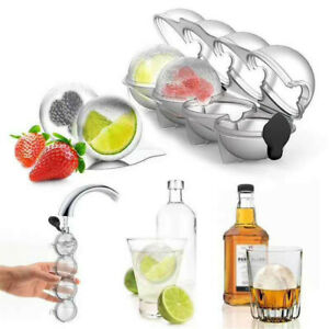 4 Ice Balls Maker Round Sphere Tray Mold Cube Whiskey Ball Silicone Diy Mould