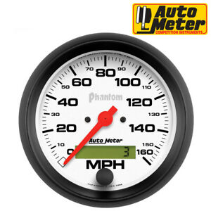 Autometer 5888 Phantom Speedometer Analog White Black 3 3 8 Gauge 0 160 Mph