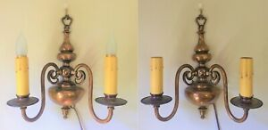 Pair Antique Colonial Cast Brass Bronze Wall Light Candle Sconces Rewired
