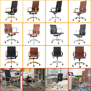 Executive Swivel Office Desk Chair With Ribbed Upholstery Lumbar Support