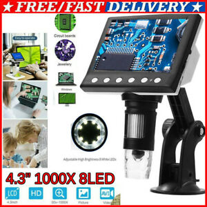4 3 1000x Hd Lcd Monitor Electronic Digital Video Microscope 8led Magnifier