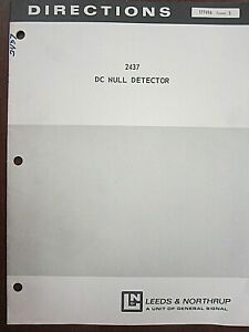Leeds Northrup 2437 Dc Null Detector Directions 177416 Issue 3