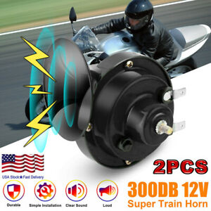 2 Pcs 12v 300db Super Loud Train Horn Waterproof For Motorcycles Cars Truck Suv