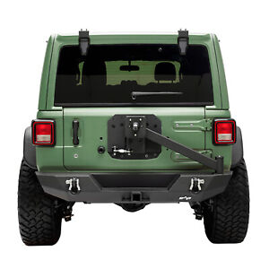 Rock Crawler Rear Bumper With Tire Carrier Hitch Receiver Fit For 18 21 Jeep Jl
