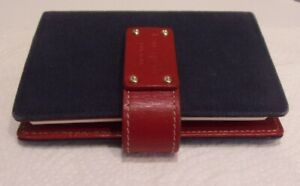 Kate Spade Navy Blue Canvas Red Genuine Leather Day K 6 L X 4 W 6 Rings