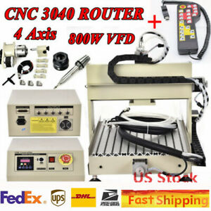 4axis Usa 800w Vfd Cnc 3040 Router Engraver Engraving Mill drilling Machine rc