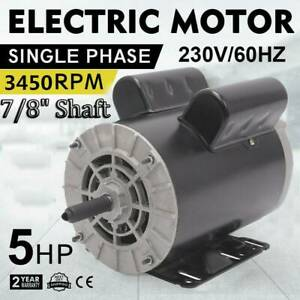 New 5hp 7 8 3450rpm Compressor Duty Electric Motor 1phase 56frame Shaft Usa
