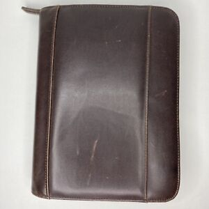 Day Runner Genuine Leather Planner Organizer Zip Binder Brown 1045 02