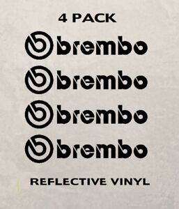 Set Of 4 Brembo Brake Vinyl Decal Caliper Stickers Reflective 3m